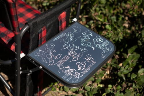 Disney Mickey Mouse - Outdoor Directors Folding Chair, Red & Black Buffalo Plaid Pattern Perspective: left