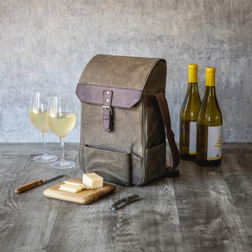 2 Bottle Insulated Wine & Cheese Cooler with Cheese Board, Knife & Corkscrew, Khaki Green Perspective: left