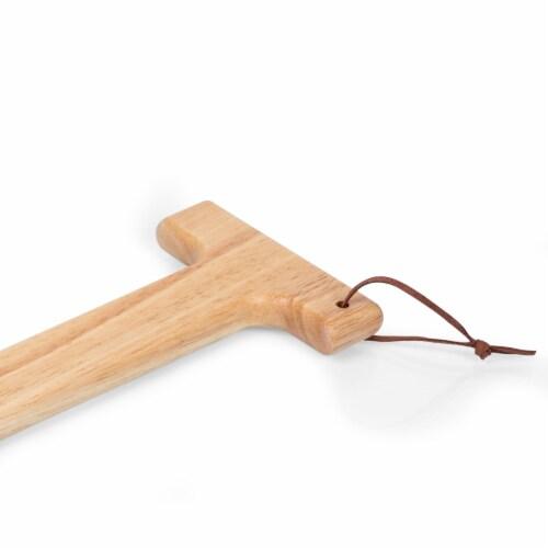 Hardwood BBQ Grill Scraper with Bottle Opener, Rubberwood Perspective: left