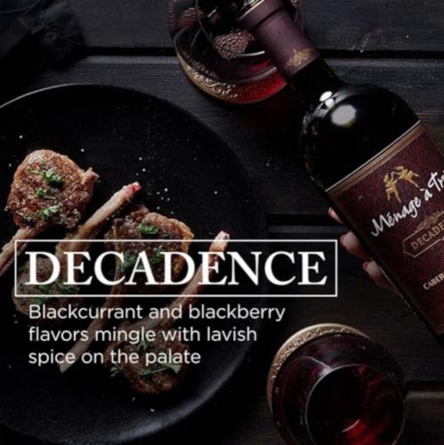 Menage a Trois Decadence Cabernet Sauvignon Red Wine Perspective: left