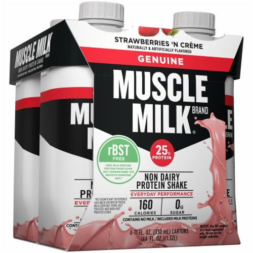 Muscle Milk Genuine Non Dairy Strawberries 'n Creme Protein Shake Perspective: left