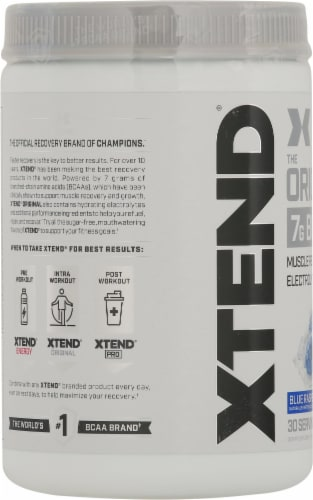 Xtend The Original BCAA Blue Raspberry Ice Muscle Recovery + Electrolytes Dietary Supplement Perspective: left