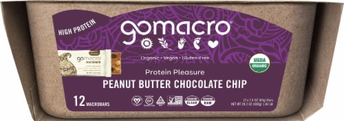 GoMacro MacroBar Peanut Butter Chocolate Chip Bars Perspective: left