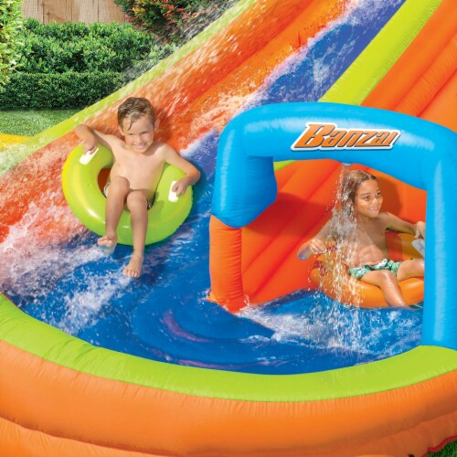 Banzai Lazy River Inflatable Outdoor Adventure Water Park Slide and Splash Pool Perspective: left