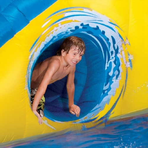 Banzai Pipeline Twist Kids Inflatable Outdoor Water Pool Aqua Park and Slides Perspective: left