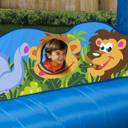 Banzai Happy Hippo Inflatable Bouncer Blow Up Bouncing House w/ Mesh Walls Perspective: left