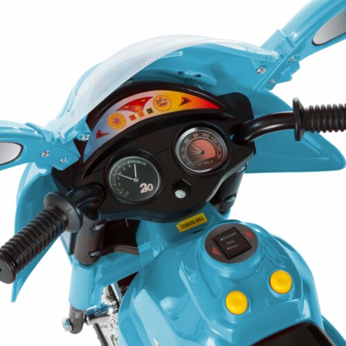 Battery Operated Powered Bike Three Wheeled Trike Motorcycle Ride On Toy 2 - 3 Yrs Blue Perspective: left