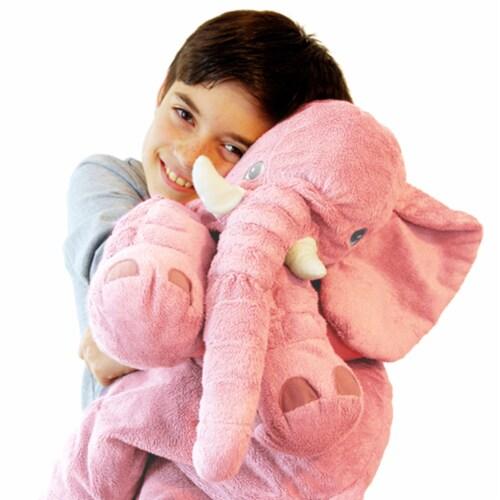 Pink Elephant Stuffed Animal Pillow Kids Adults Huggable Toddler Kids Friend Perspective: left