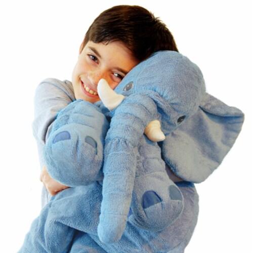 Blue Elephant Stuffed Animal Pillow Kids Adults Huggable Toddler Kids Friend Perspective: left