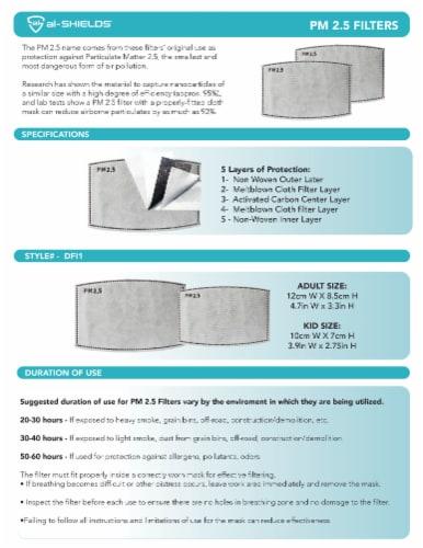al-SHIELDS Adult Unisex PM2.5 Filters Perspective: left