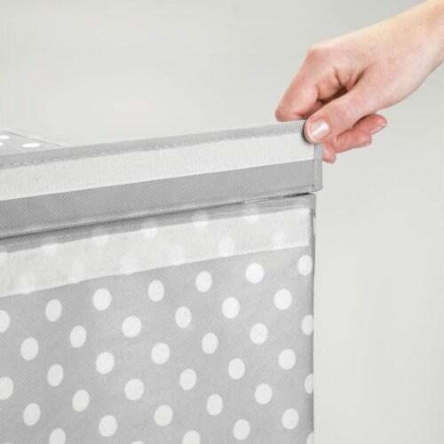 mDesign Large Laundry Hamper Basket, Hinged Lid, Polka Dot Print - Gray/White Perspective: left