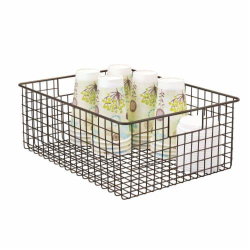 mDesign Metal Wire Food Organizer Storage Bins with Handles Perspective: left