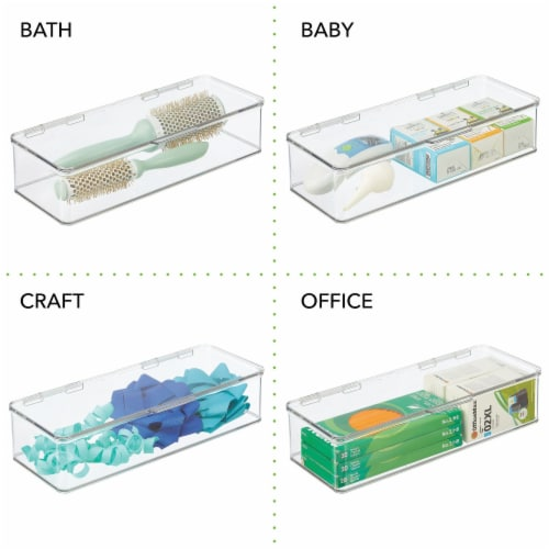 mDesign Wide Plastic Desk Organizer Box for Home Office, 4 Pack Perspective: left