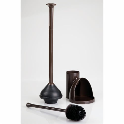 mDesign Compact Plastic Toilet Bowl Brush and Plunger Combo, 2 Pack - Dark Brown Perspective: left