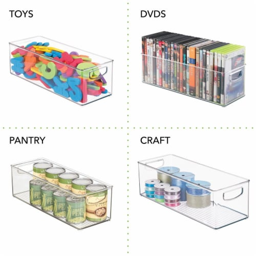 mDesign Plastic Video Game Storage Organizer Bin with Handles - 8 Pack - Clear Perspective: left