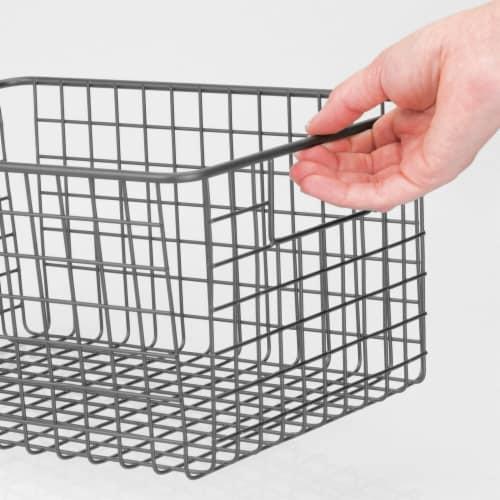 mDesign Metal Wire Food Storage Organizer Bin Perspective: left