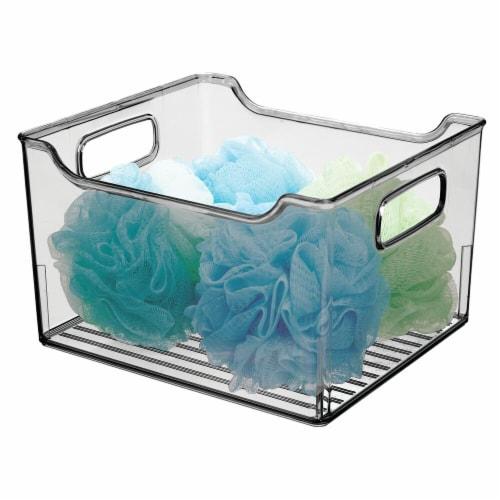 mDesign Plastic Bathroom Vanity Storage Organizer Bin, Handles, 4 Pack - Gray Perspective: left
