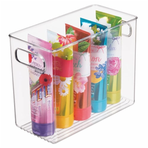 mDesign Slim Plastic Bathroom Storage Container Bin, 5  Wide, 4 Pack - Clear Perspective: left