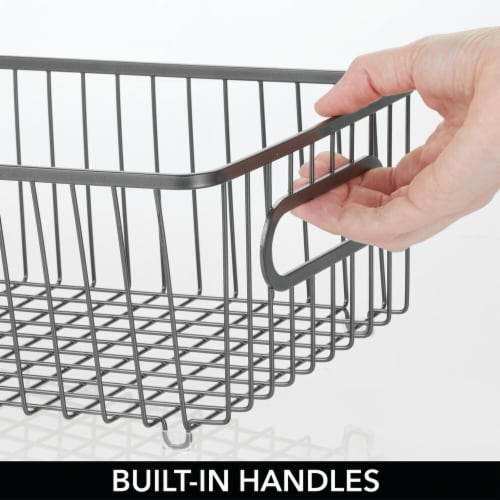mDesign Metal Kitchen Pantry Food Storage Basket Bin, 8 Pack Perspective: left