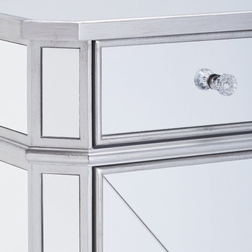 1 Door Storage Cabinet with 1 Drawer and Mirror Inserts, Gray and Silver ,Saltoro Sherpi Perspective: left
