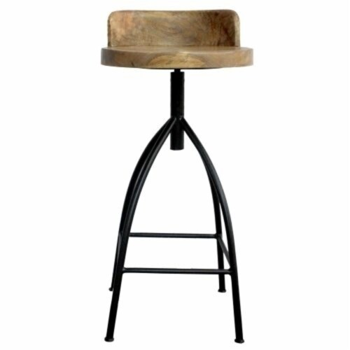 Industrial Style Adjustable Swivel Bar Stool With Backrest ,Saltoro Sherpi Perspective: left