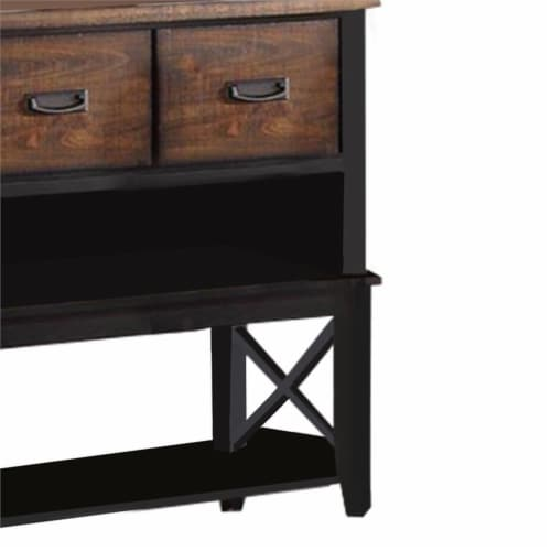 Benjara 52  Contemporary Rubber Wood Server with Spacious Storages in Brown Perspective: left