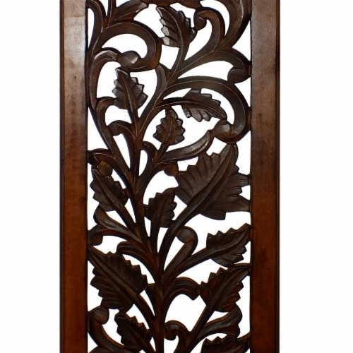 Benzara Leaves and Scrollwork Pattern Mango Wood Wall Panel - Brown Perspective: left