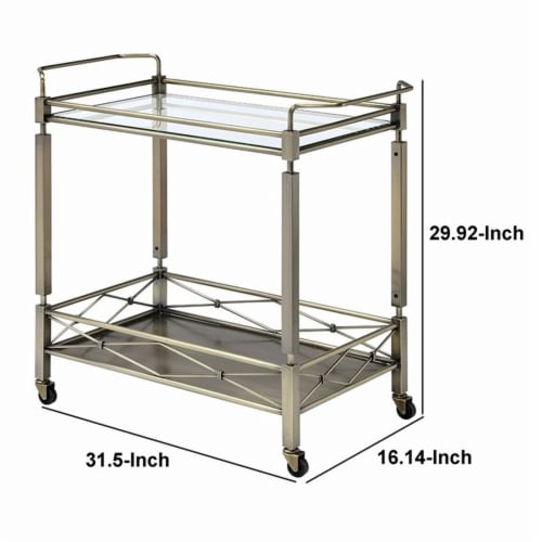 Benzara Two Tiered Metal Serving Cart with Glass Shelves & Side Rails, Antique Gold Perspective: left