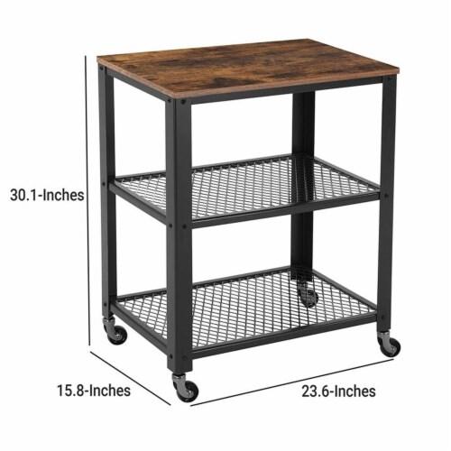 Saltoro Sherpi 3 Tier Wooden Serving Cart with 2 Mesh Design Shelves, Black and Brown Perspective: left