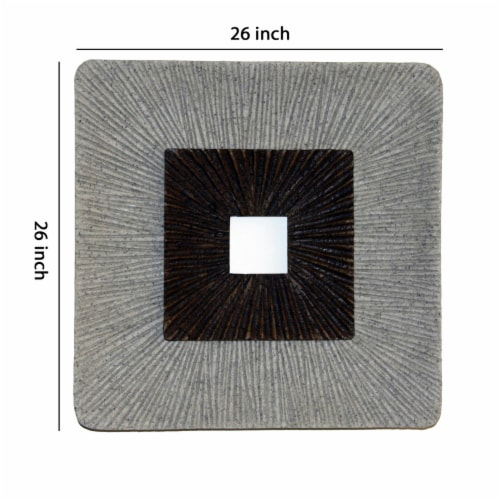 Saltoro Sherpi Square Shaped Wall Decor with Ribbed Details, Large, Brown and Gray Perspective: left