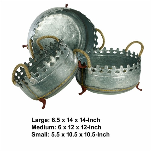 Saltoro Sherpi Metal Crown Style Planters with Golden Accenting, Gray, Set of 3 Perspective: left