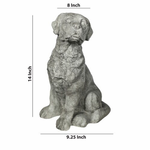 Saltoro Sherpi Border Terrier Dog Fiberstone Figurine in Sitting Position, Distressed Gray Perspective: left