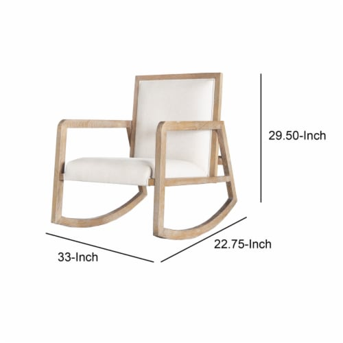 Saltoro Sherpi Fabric Upholstered Wooden Rocking Chair with Sled Base, Brown and White Perspective: left