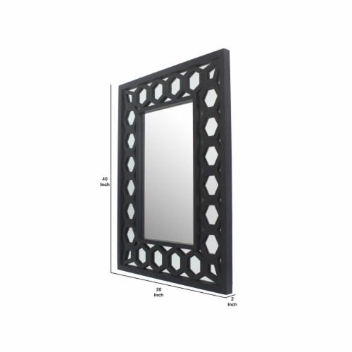 Saltoro Sherpi Rectangular Wooden Dressing Mirror with Lattice Pattern Design, Black Perspective: left