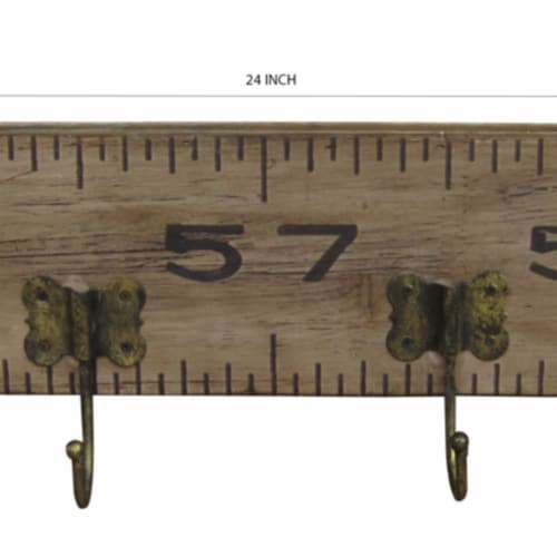 Saltoro Sherpi Contemporary Wooden Rustic Plaque with Ruler Style Design, Brown Perspective: left