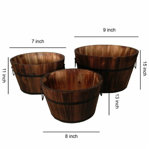 Saltoro Sherpi Round Wooden Planters with Narrow Bottom and Handles, Set of 3, Brown Perspective: left