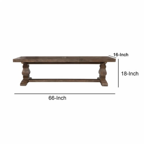 Saltoro Sherpi 66 Inch Plank Top Wooden Bench with Pedestal Base, Brown Perspective: left