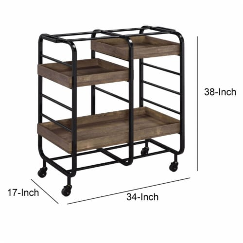 Saltoro Sherpi Metal Frame Serving Cart with 3 Open Storage and Casters, Brown and Black Perspective: left
