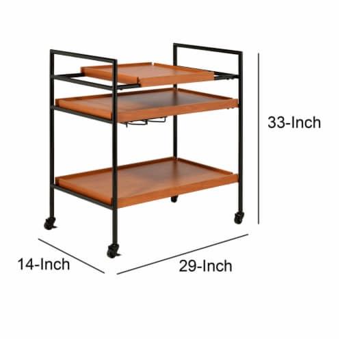 Saltoro Sherpi Metal Frame Serving Cart with Adjustable Compartments, Oak Brown and Black Perspective: left