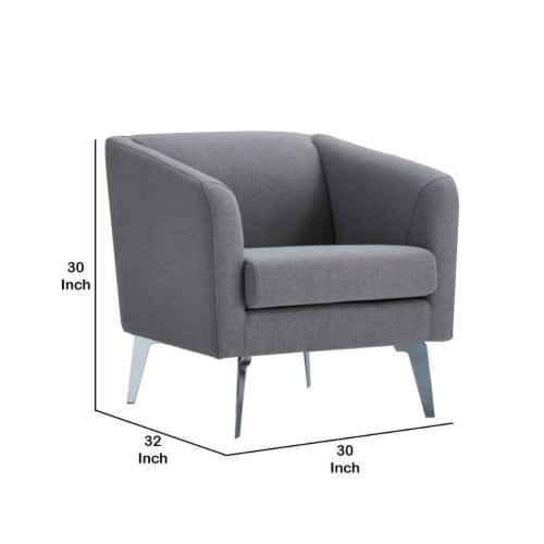 Saltoro Sherpi Fabric Lounge Chair with Sloped Arm and Metal Legs, Gray Perspective: left