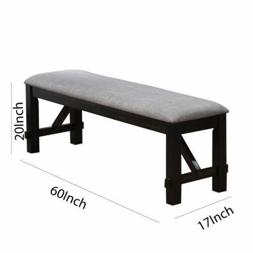 Saltoro Sherpi Dual Tone Fabric Upholstered Bench with Block Legs, Black and Light Gray Perspective: left