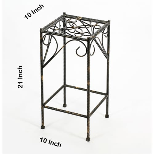 Saltoro Sherpi Scrolled Metal Frame Plant Stand with Square Top, Medium, Black Perspective: left