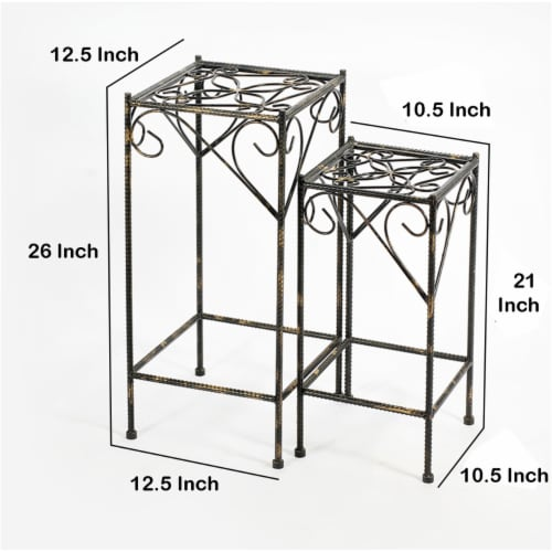 Saltoro Sherpi Scrolled Metal Frame Plant Stand with Square Top, Set of 2, Black Perspective: left