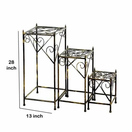 Saltoro Sherpi Lattice Cut Square Top Plant Stand with Tubular Legs, Set of 3, Black Perspective: left