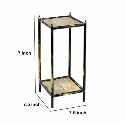 Saltoro Sherpi 2 Tier Square Stone Top Plant Stand with Metal Frame, Small, Black and Gray Perspective: left