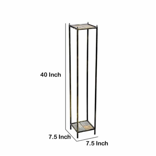 Saltoro Sherpi 2 Tier Square Stone Top Plant Stand with Metal Frame, Large, Black and Gray Perspective: left