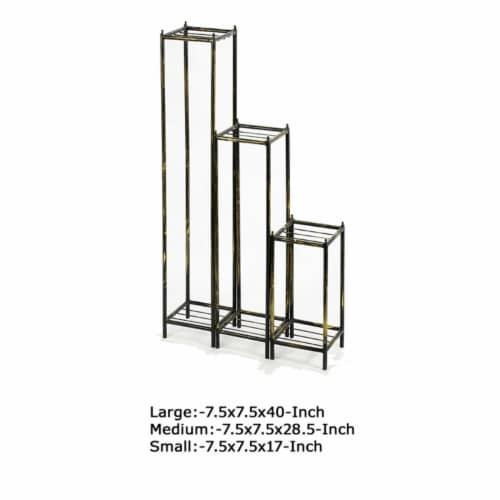 Saltoro Sherpi 2 Tier Square Slatted Top Plant Stand, Set of 3, Black and Gold Perspective: left