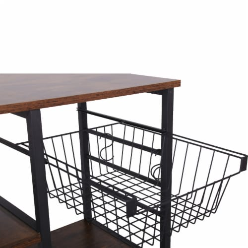 Saltoro Sherpi Wood and Metal Bakers Rack with 4 Shelves and Wire Basket, Brown and Black Perspective: left