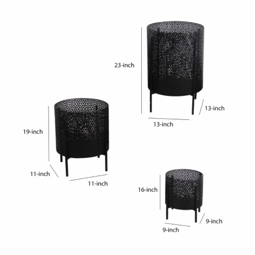 Saltoro Sherpi Metal Planters with Floral Hexagon Cut Out Design, Set of 3, Black Perspective: left