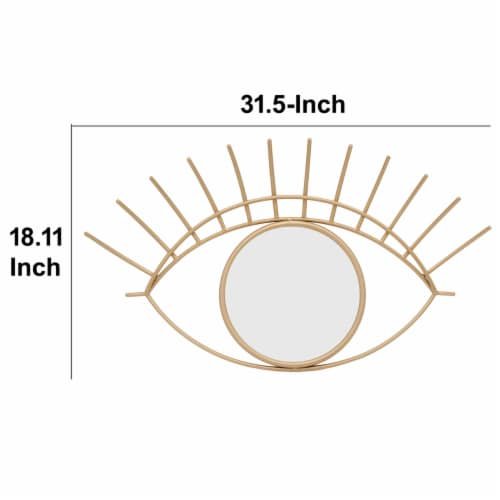 Saltoro Sherpi 32 Inch Contemporary Eye Design Metal Wall Decor with Round Mirror,Gold and Perspective: left